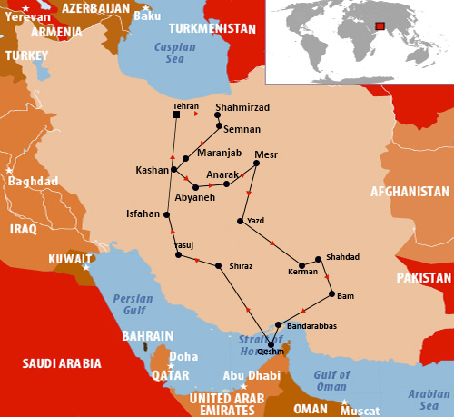 Iran Central and Lout desert main cities